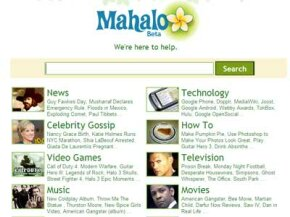 The Mahalo homepage welcomes you to the site.