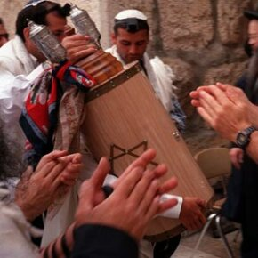 A bar mitzvah at the Western Wall in Jerusalem, April 1997