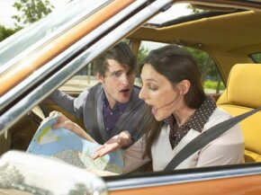 This couple is having a friendly discussion about which gender is more likely to stop and get directions. See more pictures of emotions.