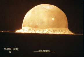 A photograph shows the first atomic bomb test on July 16, 1945, at 5:30am at the Trinity Site in New Mexico. See more nuclear bomb pictures.