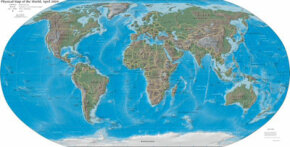 A physical map depicting major land features of the world.