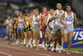 Ryan Shay (#8) leads the pack in the 10,000 meter run during the U.S. Olympic team track
