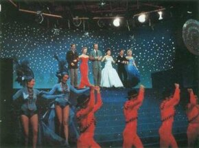 As this image suggests, There's No Business Like Show Business is colorful, splashy ... and trivial. From left, Johnnie Ray, Mitzi Gaynor, Dan Dailey, Ethel Merman, Donald O'Connor, and Marilyn.