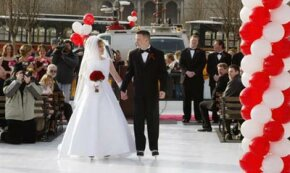 Amanda Hughes and Matthew Self join in holy matrimony on ice in Chicago on Valentine's Day 2002. Although the city picked up the tab, the marriage is still going to cost the couple plenty. See more investing pictures.
