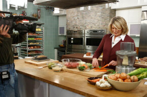 "Martha Stewart cooking on the set of NBC's ""Today"" show in 2013."