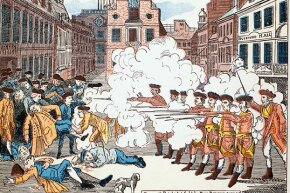 Paul Revere's famous engraving of the Boston Massacre shows the British soldiers shooting defenseless men, though there was violence on both sides. Crispus Attucks, the man lying closest to the soldiers was black but was depicted as white.