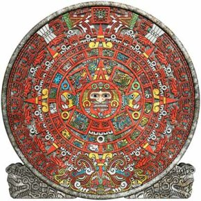 The Aztec calendar, which was adapted from the Mayan calendar. See more Mayan pictures.