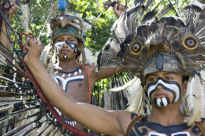 Teenage boys dressed as ancient Mayan warriors.  What lessons does the decline of Mayan civilization hold for us today?