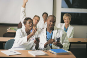 Unlike these medical students, you can't bring any study aids with you on test day.