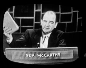 "McCarthy on the premiere broadcast of the TV show ""Face the Nation,"" Nov. 7, 1954"