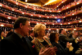 "The audience gives a standing ovation for the Metropolitan Opera's closing night performance of the opera ""Tosca"" by Giacomo Puccini, in New York City, on May 11, 2002."