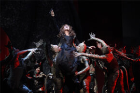 "In this April 9, 2010 photo, Renee Fleming, center, performs the title role during the final dress rehearsal of Gioachino Rossini's ""Armida"" at the Metropolitan Opera in New York."