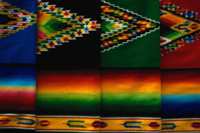 A selection of traditional Mexican serapes.