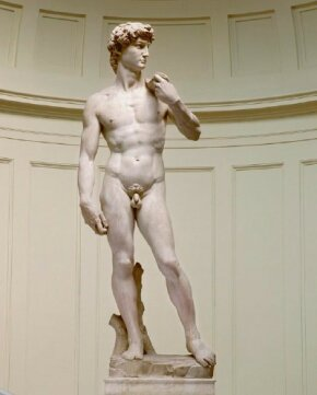 Michelangelo's David, a marble sculpture standing tall, is one of Michelangelo's. See more pictures of works by Michelangelo.