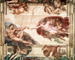The Creation of Man detail, Sistine ceiling (1508 - 1512). Pope Julius II commissioned the frescoes for the Sistine Chapel. The Creation of Man is one of the most overwhelming visions in the history of art.