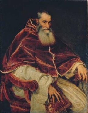 Titian, Pope Paul III (1543). Elected to the papal seat in 1534, Paul III confirmed Michelangelo's commission of the fresco Last Judgment, originally offered to the artist by Pope Clement VII.