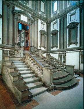 Laurentian Library vestibule and stairs by Michelangelo (c. 1524-34). The library is located on top of an existing monastery building in San Lorenzo, Florence.