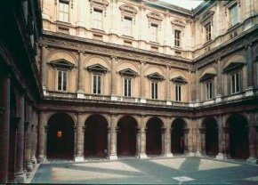 Michelangelo was commissioned to finish the                              Farnese Palace courtyard in Rome, Italy.