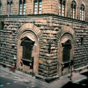 The Palazzo Medici-Riccardi windows, which Michelangelo designed in 1517, stands in Florence, Italy.