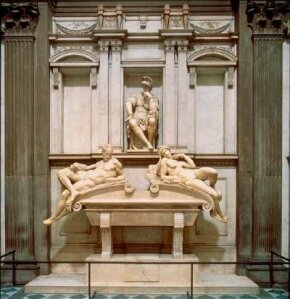 The tomb of Lorenzo de' Medici (20 feet 8 inches x 13 feet 9 inches) is a grand memory built in marble. It is housed within the Medici Chapel in San Lorenzo, Florence.