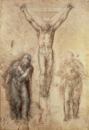 Crucifixion (1940s-50s) by Michelangelo is a black and white chalk drawing (16-3/8 x 11-1/4 inches), which is on display at the British Museum.