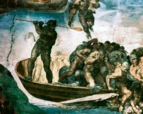 Charon is a detail from Michelangelo's Last Judgment (fresco 48 x 44 feet) within the Sistine Chapel, Vatican.