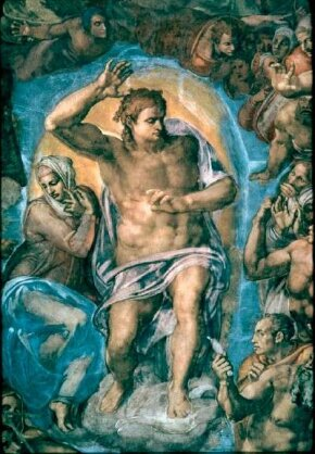 The powerful Christ of Michelangelo's Last Judgment (fresco 48 x 44 feet) can be seen in the Sistine Chapel, Vatican.