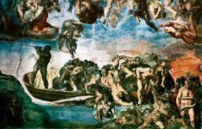 Minos, shown at the bottom right of this detail, as depicted by Michelangelo in the Last Judgment (fresco 48 x 44 feet) in the Sistine Chapel, Vatican.