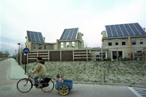 This environmentally friendly housing community in the Dutch town Amersfoort demonstrates some of the solar technology that could power a microgrid.