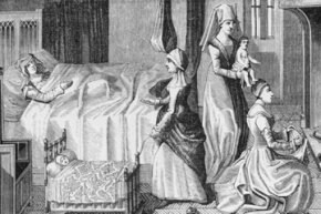 This engraving from the 1400s shows midwives attending at a birth.