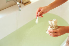 Epsom salts exfoliate the skin, which opens it up to absorb moisture.