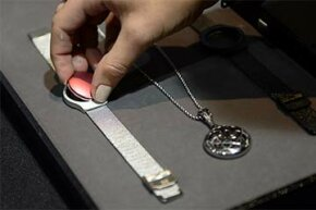 The Misfit tracker can be taken out of its band and placed on a pendant.