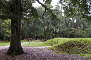 Reconstructed earthworks were done at the site of Fort Raleigh, built by English settlers of the 'Lost Colony' at Roanoke, N.C.