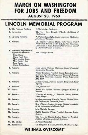 The program from the March On Washington For Jobs And Freedom, August 28, 1963; Dr. King is the 16th speaker.
