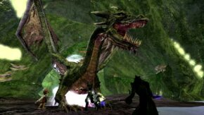 A group of players fights a dragon in Vanguard: