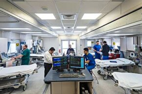 The interior of the Hackensack UMC mobile emergency unit looks the same as any ER.