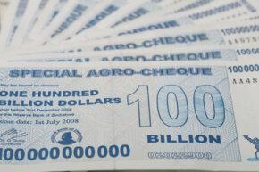 A Zimbabwean 100 billion dollar note.