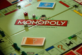 A Monopoly board in play during the U.S. National Monopoly Tournament in Washington, D.C.