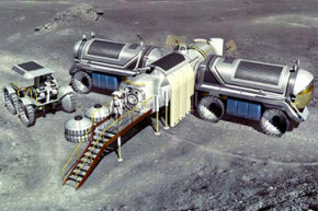 An artist's concept of what an early lunar base might entail. See more moon pictures.