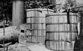 The Blue Blazes whiskey still at Catoctin Mountain, Maryland, was a large commercial operation. More than 25,000 gallons of mash were found in 13 2,000-gallon vats when the operation was raided in July 1929.