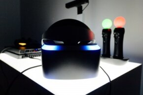A Project Morpheus virtual reality headset on display at the 2014 Electronics Entertainment Expo in Los Angeles, California