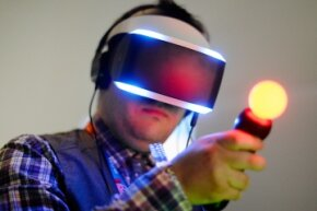 The Morpheus headset can be used in conjunction with the PlayStation Move controllers.
