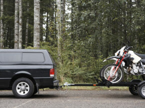 Towing your motorcycle can be tricky. Practice first, before taking your trailer out on the road.