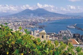 Naples, Italy at the base of Mount Vesuvius.