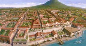 An artistic rendering of Herculaneum before the A.D. 79 eruption of Mount Vesuvius.