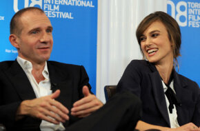 """Press conferences are used to interest critics in films. Ralph Fienes and Keira Knightley share the stage at a conference for """"The Dutchess."""""""