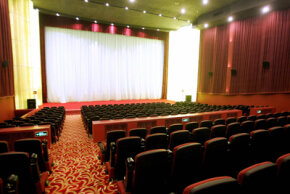 Rows are arranged on a series of terraces or steps in theaters with stadium seating.