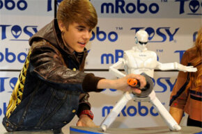 Bieber doesn't look too worried about the moves the mRobo Ultra Bass was throwing down at CES in January 2012.