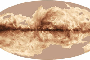 This beautiful image of the Milky Way's magnetic field was compiled from the first all-sky observations of polarized light emitted by interstellar dust in the Milky Way. It's courtesy of the Planck space telescope.