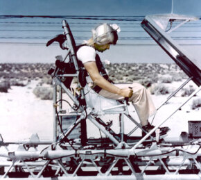 "Col. John Paul Stapp aboard the ""Gee Whiz"" rocket sled at Edwards Air Force Base."